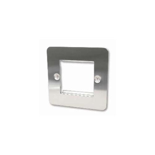 CMW Ltd  | Double Brushed Steel Flat Edge Plate accepts 2 EURO Modules 50x25mm