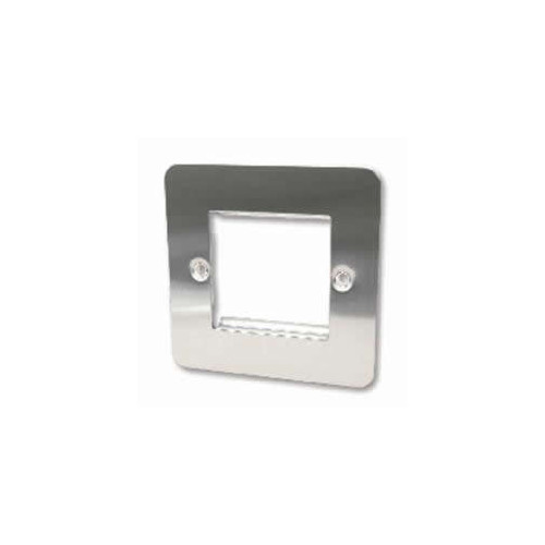CMW Ltd    Double Brushed Steel Flat Edge Plate accepts 2 EURO Modules 50x25mm