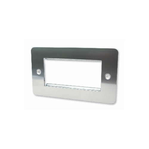 Quad Brushed Steel Flat Edge Plate accepts 4 EURO Modules 50x25mm (Each)
