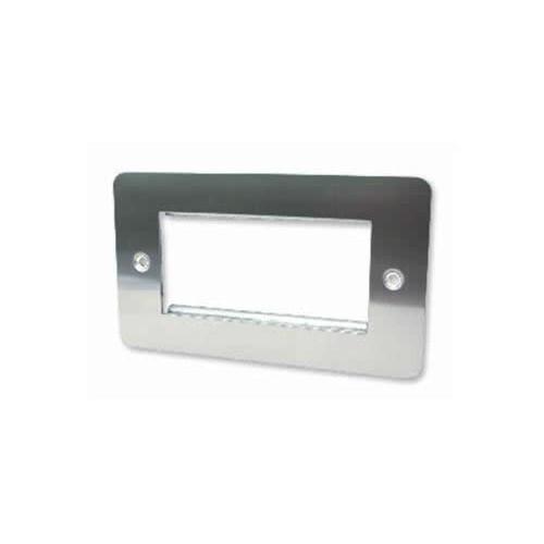 CMW Ltd  | Quad Brushed Steel Flat Edge Plate accepts 4 EURO Modules 50x25mm