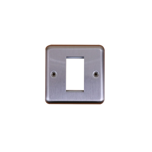Kauden  Single Brushed Steel Round Edge Plate accepts 1 EURO Module 50x25mm