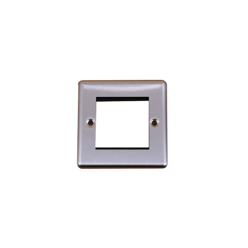Kingfisher  Double Brushed Steel Round Edge Plate accepts 2 EURO Modules 50x25mm