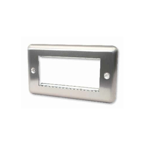 Quad Brushed Steel Round Edge Plate accepts 4 EURO Modules 50x25mm (Each)