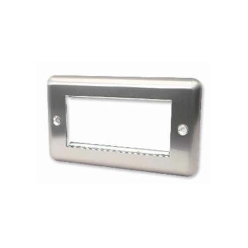 CMW Ltd    Quad Brushed Steel Round Edge Plate accepts 4 EURO Modules 50x25mm