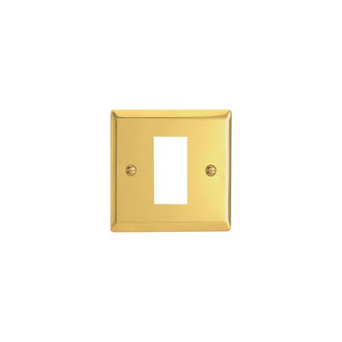 Varilight 0 | Single Victorian Brass Faceplate accepts 1 EURO Module 50x25mm