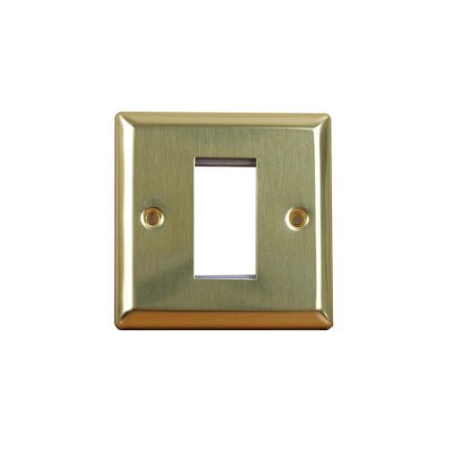 Varilight  Single Gang, Victorian Brass Data Faceplate accepts 1 EURO Module 50mm x25mm