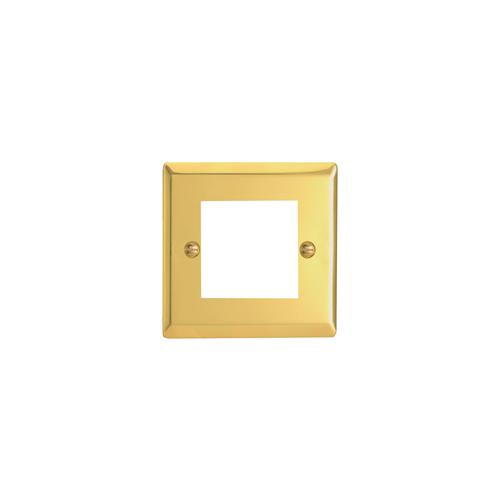 Varilight 0 | Double Victorian Brass Faceplate accepts 2 EURO Modules 50x25mm