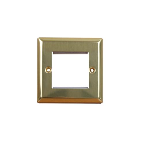 Varilight  Double Victorian Brass Faceplate accepts 2 EURO Modules 50x25mm