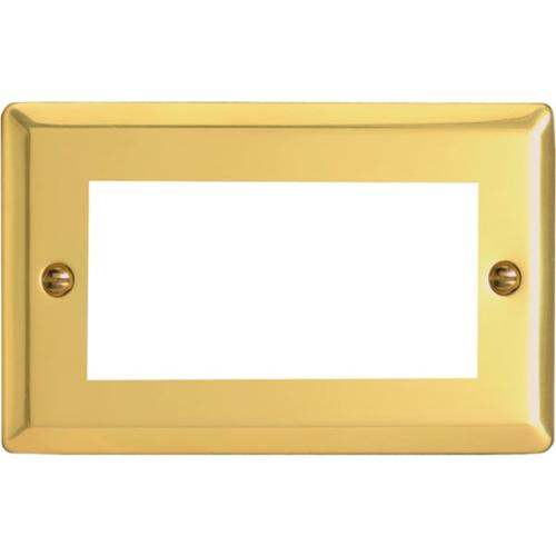 Quad Victorian Brass Faceplate accepts 1 EURO Modules 50x25mm (Each)