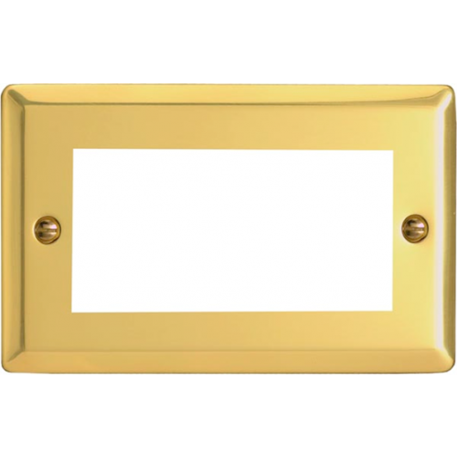 Varilight 0 | Quad Victorian Brass Faceplate accepts 1 EURO Modules 50x25mm