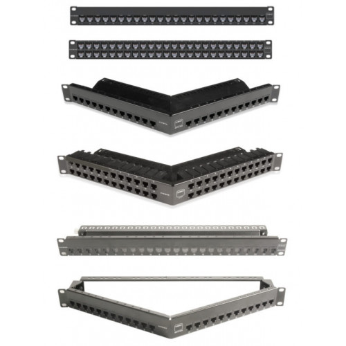 Siemon ZS-PNLA-U48E | Siemon Z-MAX 48 Port Angled Unloaded Shielded Patch Panel 1U
